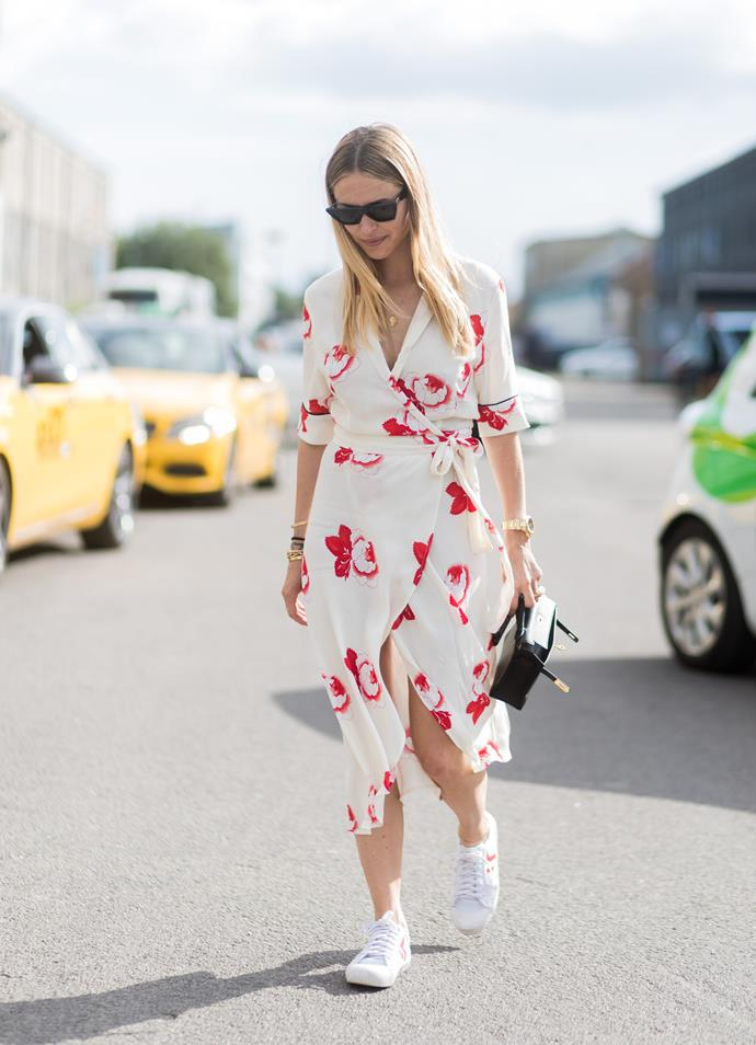 <p><strong>Adelaide: Hot, partly cloudy, 15°C–25°C</strong> <p>Keep cool while keeping, well, *cool* in a printed dress. Long or short, the right print should pack a punch with minimal effort. Add white sneakers to keep in clean.