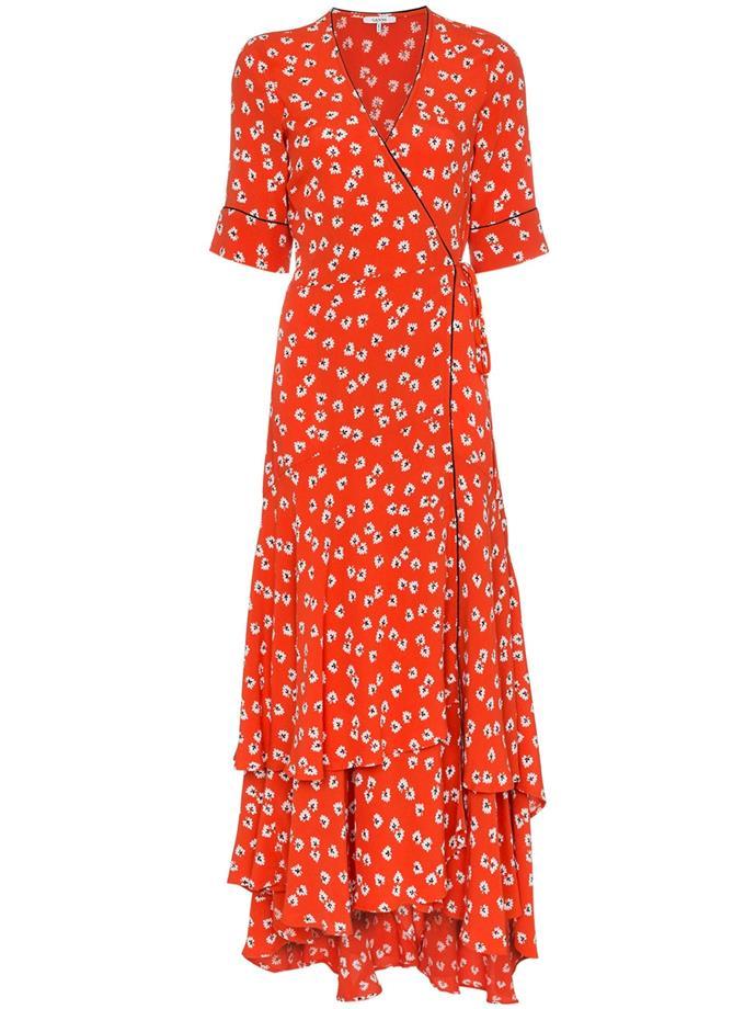 "Crepe wrap dress by Ganni, $406 at [Farfetch](https://www.farfetch.com/au/shopping/women/ganni-silvery-crepe-wrap-dress-item-12967109.aspx target=""_blank"" rel=""nofollow"")."