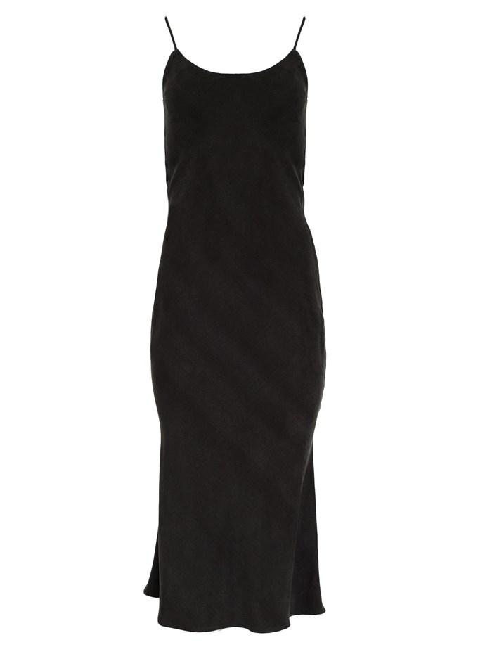 "Bias slip dress by Christopher Esber, $690 at [The Undone](https://www.theundone.com/products/tie-back-bias-slip-dress-black|target=""_blank""|rel=""nofollow"")."