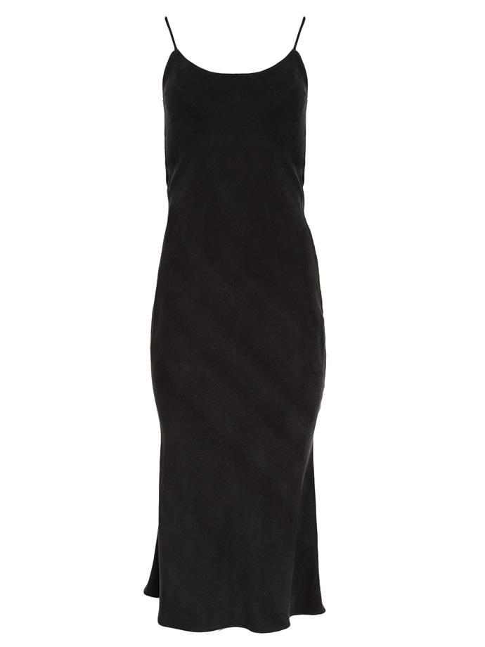 "Bias slip dress by Christopher Esber, $690 at [The Undone](https://www.theundone.com/products/tie-back-bias-slip-dress-black target=""_blank"" rel=""nofollow"")."
