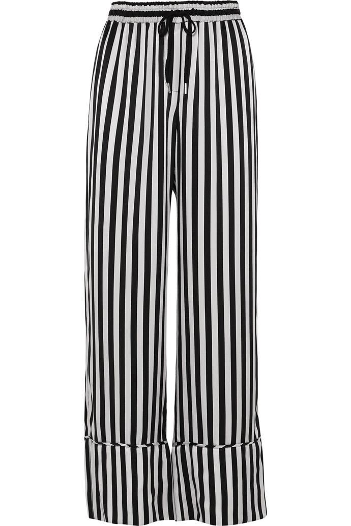 "Silk-satin wide-leg pants by Lee Mathews, $410 at [Net-a-Porter](https://www.net-a-porter.com/au/en/product/1066884 target=""_blank"" rel=""nofollow"")."