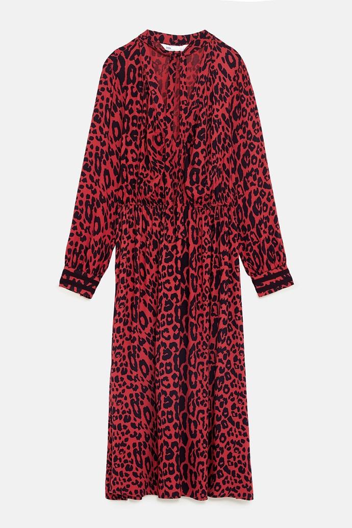 "Animal print dress, $99 at [ZARA](https://www.zara.com/au/en/animal-print-dress-p07484165.html?v1=7819505&v2=1055438|target=""_blank""|rel=""nofollow"")."