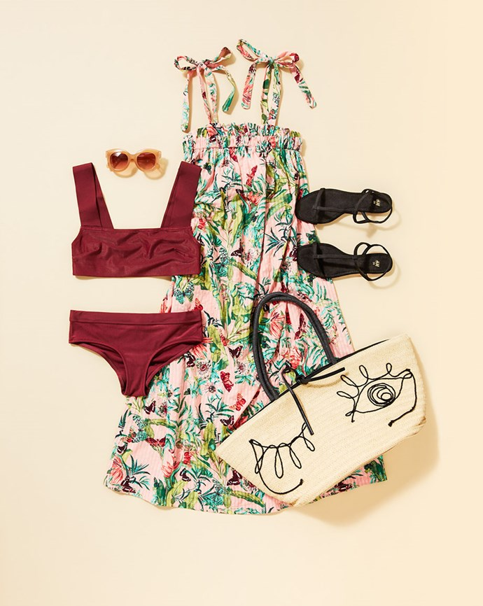 "Dress, $29.99; Bikini top, $27.99 and bottom, $19.99; Sandals, $24.99; Sunglasses, $14.99; Bag, $39.99; all available at [H&M](https://www.hm.com/au/|target=""_blank""