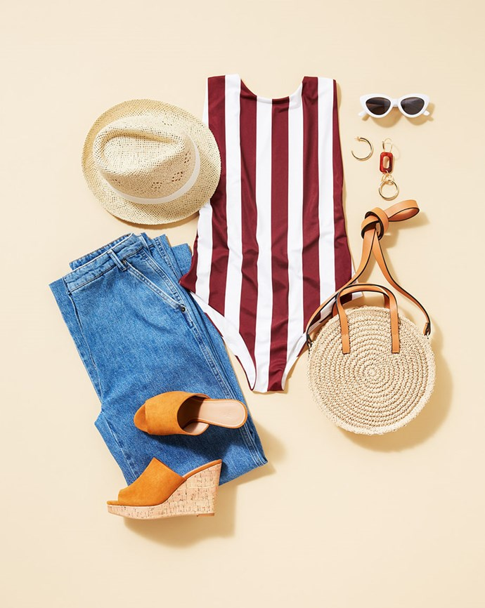 "Swimsuit, $44.99; Jeans, $69.99; Heels, $49.99; Hat, $12.99; Sunglasses, $14.99; Earrings, $24.99; Bag, $29.99; all available at [H&M](https://www.hm.com/au/|target=""_blank""