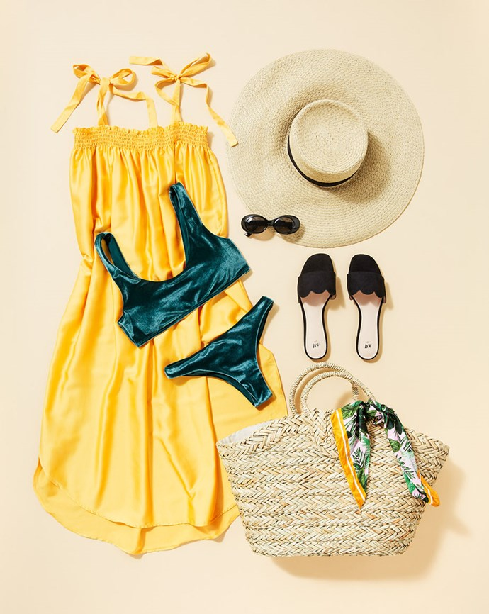 "Dress, $29.99; Bikini top, $24.99 and bottom, $14.99; Shoes, $24.99; Hat, $24.99; Sunglasses, $12.99; Bag, $59.99; Scarf, $12.99; all available at [H&M](https://www.hm.com/au/|target=""_blank""