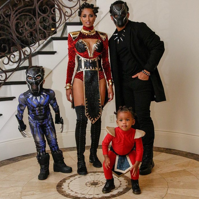 Ciara as Nakia from *Black Panther* with husband Russell Wilson and their children.