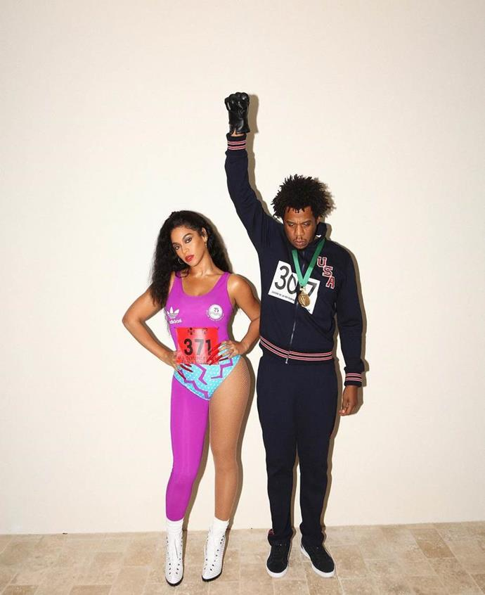 Beyoncé and Jay-Z as Florence Griffith Joyner and Tommie Smith.