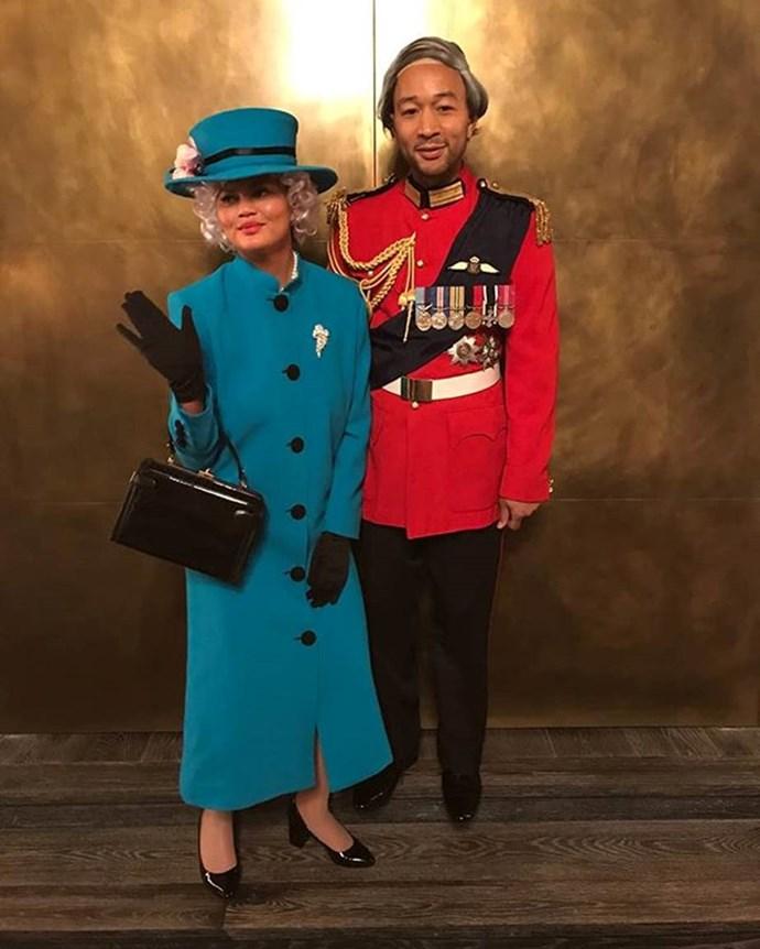 Chrissy Teigen and John Legend as Queen Elizabeth II and Prince Philip.