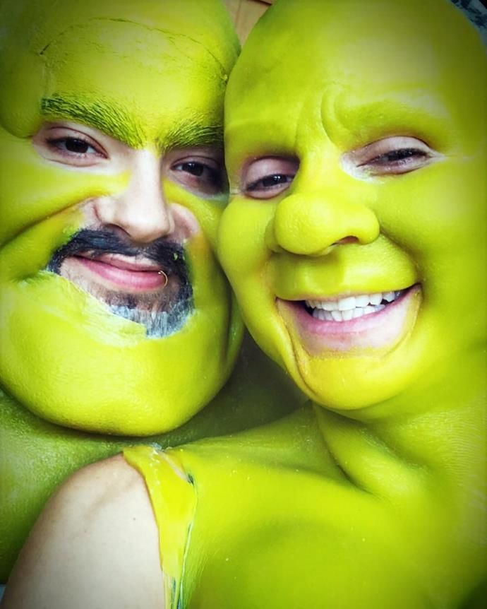 Heidi Klum and boyfriend Tom Kaulitz as Shrek and Princess Fiona.
