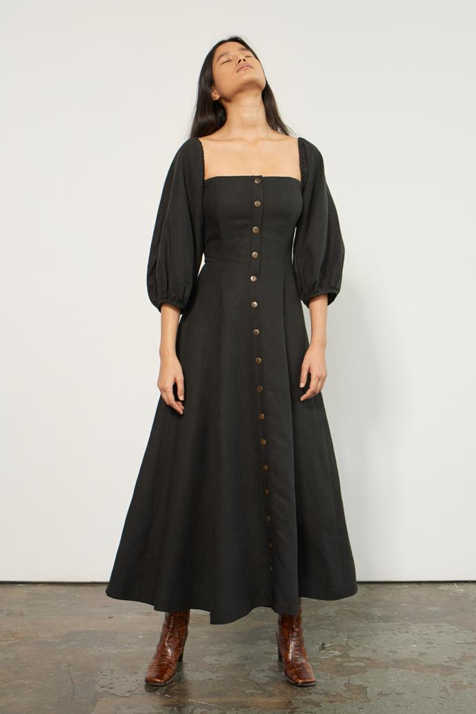 "Mara Hoffman's [Marlow Dress](https://www.marahoffman.com/ready-to-wear/dresses/marlow-full-sleeve-midi-dress-black|target=""_blank""), $545"