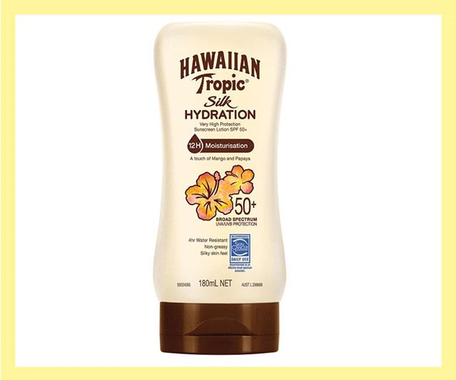 "The sun takes no prisoners so protect yourself with a high factor, broad-spectrum sunscreen this summer. We like this tropical-smelling lotion for its fruity scent, plus the fact that it's non-greasy and keeps skin moisturised and silky-soft for 12 hours. <br><br> Silk Hydration Lotion 50+, $9.99 by [Hawaiian Tropic](https://www.chemistwarehouse.com.au/buy/89136/hawaiian-tropic-silk-hydration-lotion-50-180ml|target=""_blank""