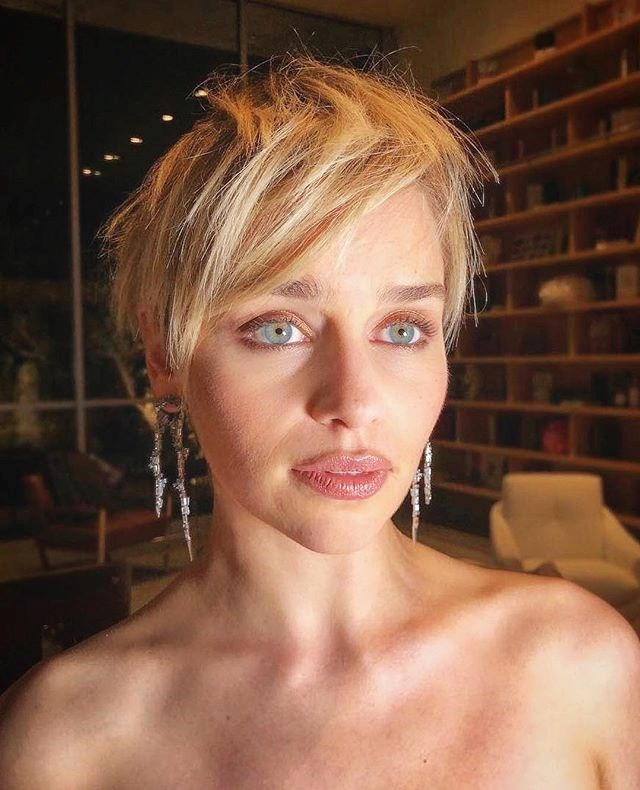 """**The Grown-Out Pixie, as seen on Emilia Clarke:** Short hair is going to be huge for 2019 but we're going to see softer, shorter cuts that have a more lived-in feel,"""" Scandizzo said. """"It's kind of the new French girl hair for 2019. The key to this cut is that hair will be worn more natural, not overly styled with product, not cut too clean around the ears or neckline. Ask for a grown-out fringe to make that heavy layer at the front and style with a low hold cream, to stop it looking fluffy but still deliberate, never contrived. This cut is really versatile, you can wear it off your face, run your fingers through it and flip it over to one side."""""""