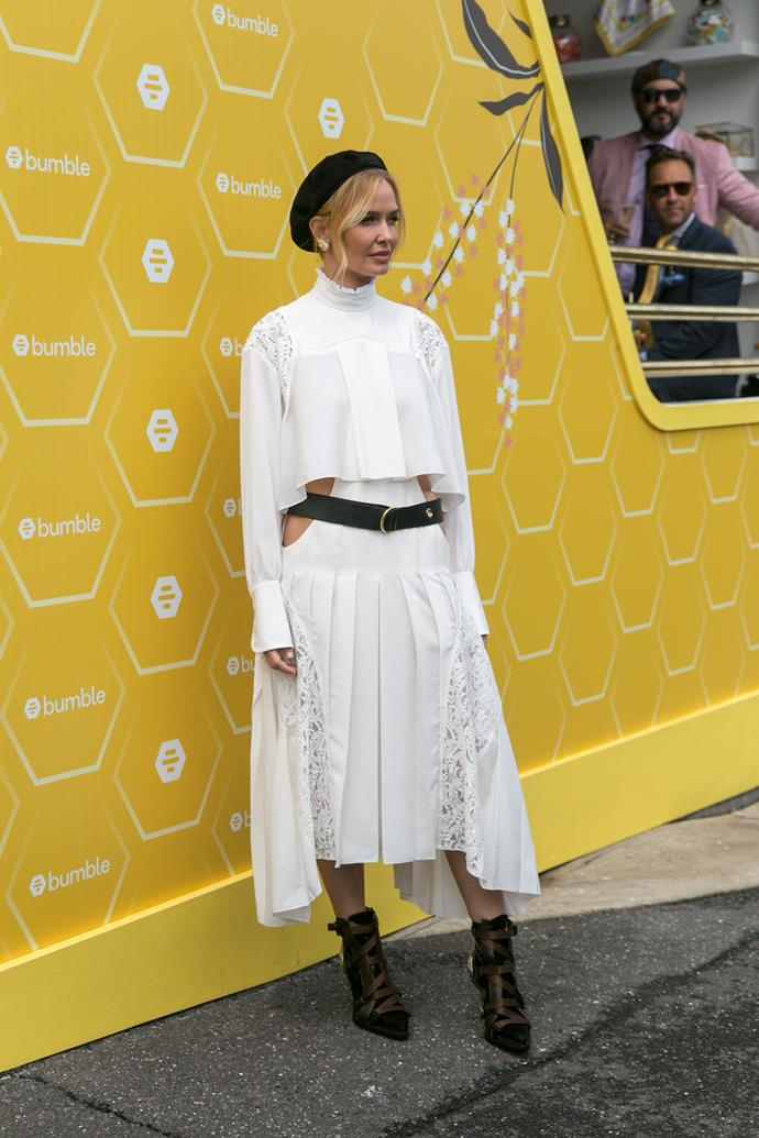 **Grace O'Neill, Fashion Features Director:** Lara Worthington looked so modern and fresh in Chloé on Melbourne Cup Day. I'm now rethinking my aversion to berets...