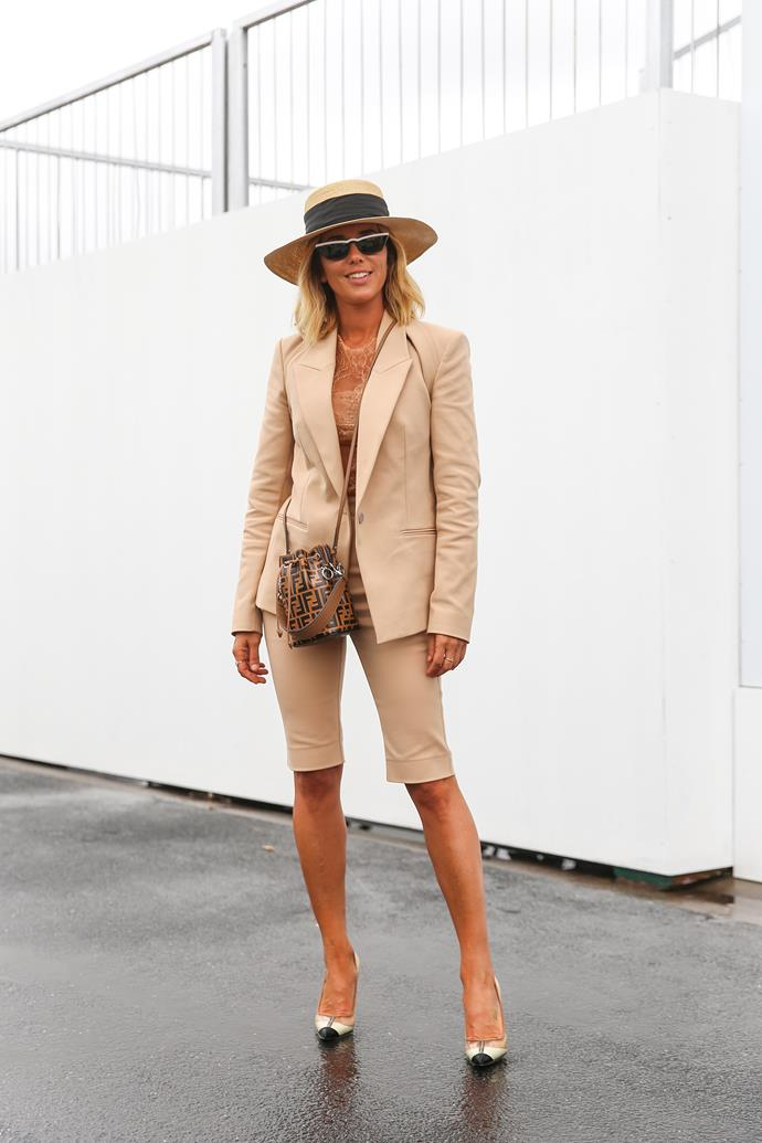 **Grace O'Neill, Fashion Features Director:** Pip Edwards in Dion Lee at the Melbourne Cup. A very chic and cool interpretation of racing day style.