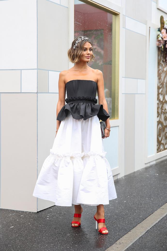 **Caroline Tran, Fashion Editor:** Nat Kelley looked so beautiful in her Alex Perry look for Melbourne Cup. I loved the crystal headband and pop of colour for the shoes.