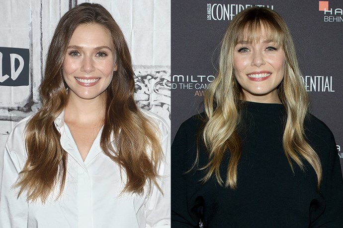 **Elizabeth Olsen** <br><br> Going a few shades lighter and adding an eyebrow-grazing fringe, Elizabeth Olsen proved the power of a summer switch-up.