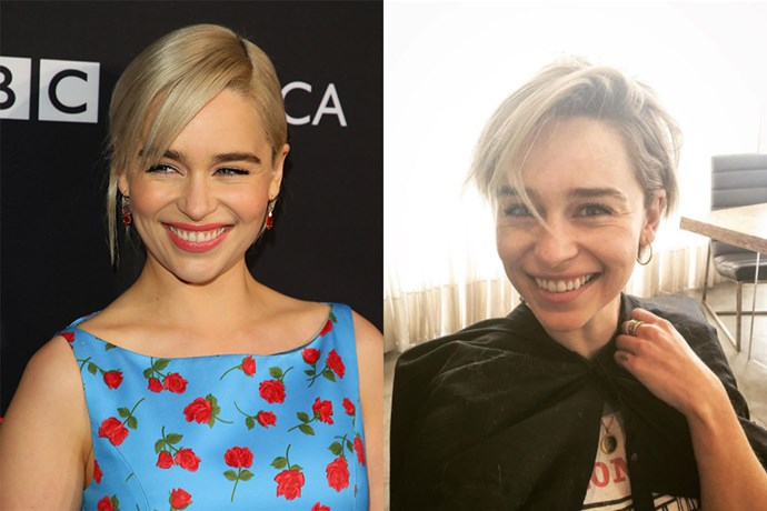 **Emilia Clarke** <br><br> After wrapping *Game of Thrones*, Emilia Clarke said goodbye to her Khaleesi hair by going for a '90s-esque choppy cut in a dirty blonde.