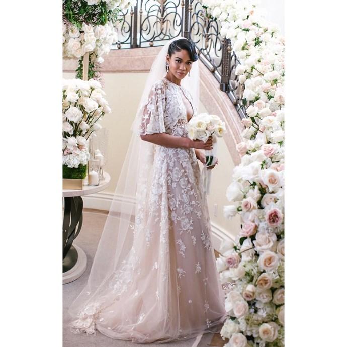 **Chanel Iman** <br><br> Married: Sterling Shepard <br><br> Wearing: Zuhair Murad