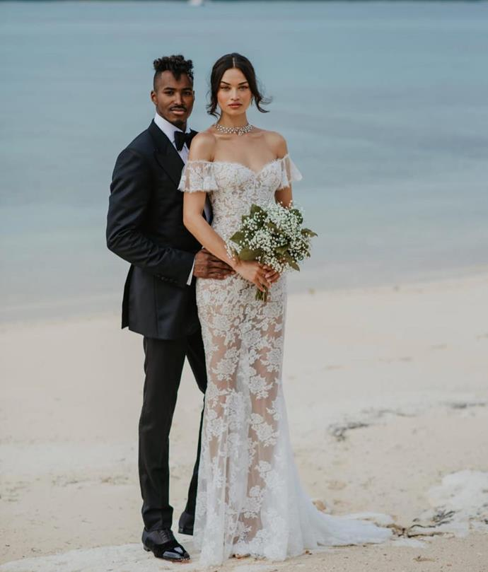 **Shanina Shaik** <br><br> Married: Gregory Andrews <br><br> Wearing: Ralph and Russo