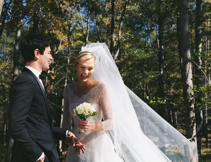 **Karlie Kloss** <br><br> Married: Joshua Kushner <br><br> Wearing: Dior by Maria Grazia Chiuri