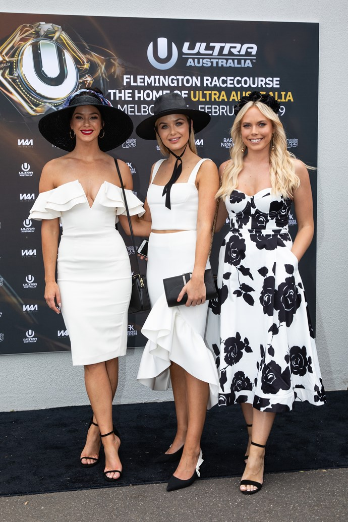 Brittany Hockley, Sophie Tieman and Cass Wood at Derby Day.