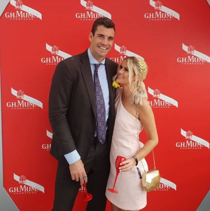 Cam Cranley and his girlfriend, Alex Gough, at the Melbourne Cup.