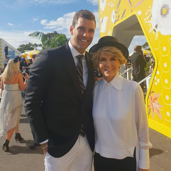 Cam Cranley and Julie Bishop on Derby Day.