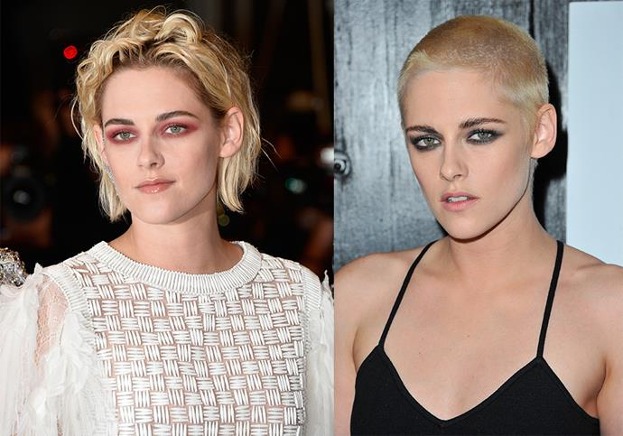**Kristen Stewart:** After her break-up with girlfriend Alicia Cargile in 2016, Stewart really committed to her post-split chop and shaved her blonde crop down to the scalp. Few could pull it off, but Stewart made it look easy.
