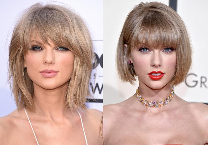 **Taylor Swift:** The singer's hair was already fairly short when she was dating ex-boyfriend Calvin Harris, but when she split from the Scottish DJ, she went the extra mile and cut it into a chin-grazing bob.