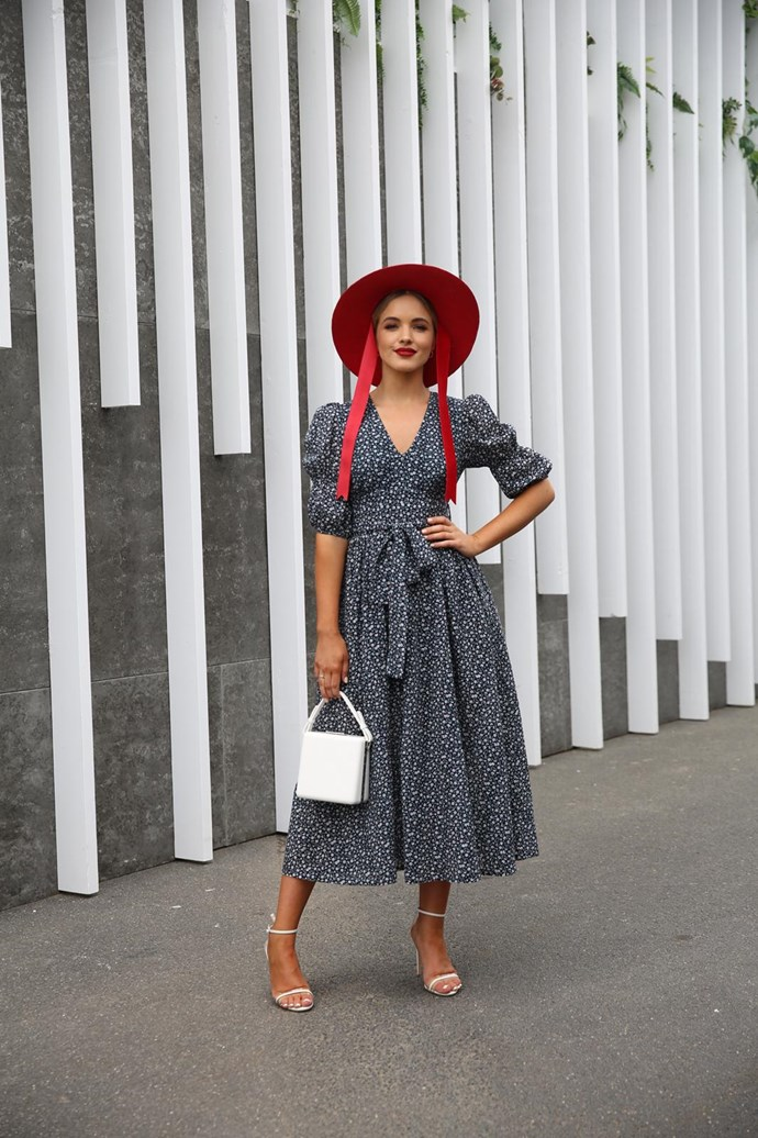 **Susannah Guthrie, Digital Content Director:** Olivia Rogers reminded me (in a good way) of Little Bo-Peep in her sweet Pas Duchas dress and wide-brim red hat. Perfect for the more relaxed Stakes Day vibe.