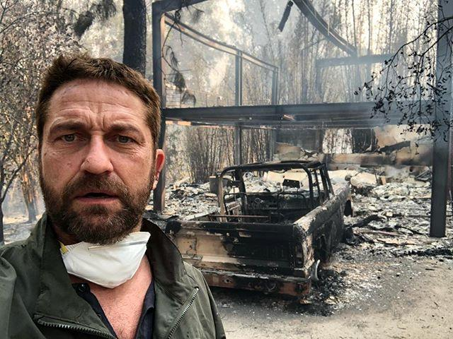 """***Gerard Butler*** <br><br> Butler shared a heartbreaking photograph of the remains of his Malibu home to [Instagram](https://www.instagram.com/p/BqDOMy5Fz69/