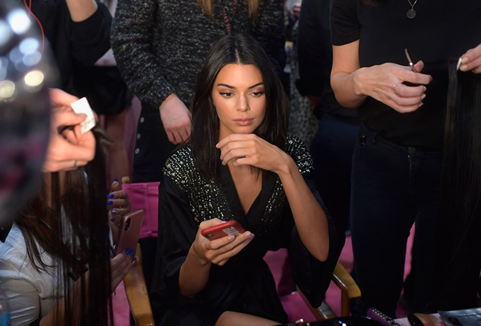 "Kendall Jenner backstage at the [2018 Victoria's Secret Show](https://www.elle.com.au/celebrity/victorias-secret-show-2018-after-party-18986 target=""_blank"" rel=""nofollow"")."