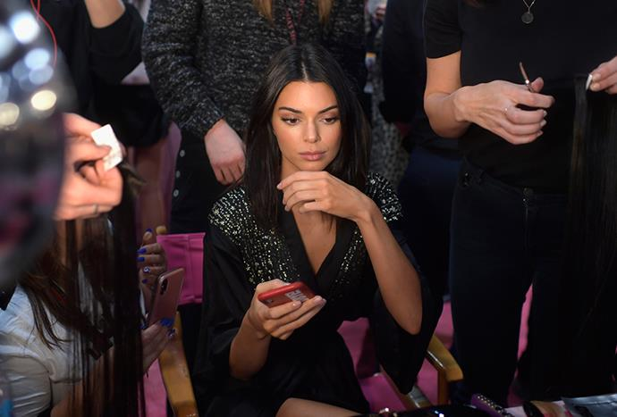 "Kendall Jenner backstage at the [2018 Victoria's Secret Show](https://www.elle.com.au/celebrity/victorias-secret-show-2018-after-party-18986|target=""_blank""