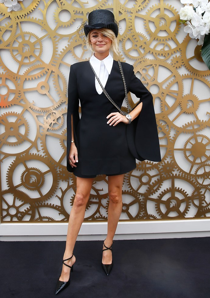**Caroline Tran, Fashion Editor:** Nadia Fairfax was a stand-out for me on Derby Day. I loved the tailored mini dress finished with a top hat. True individual style.