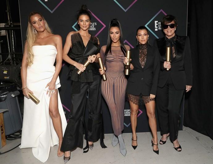 From left: Khloé Kardashian, Kendall Jenner, Kim Kardashian, Kourtney Kardashian and Kris Jenner.