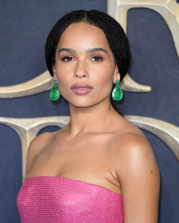 Zoë Kravitz at the premiere of *Fantastic Beasts: The Crimes of Grindelwald* in London.