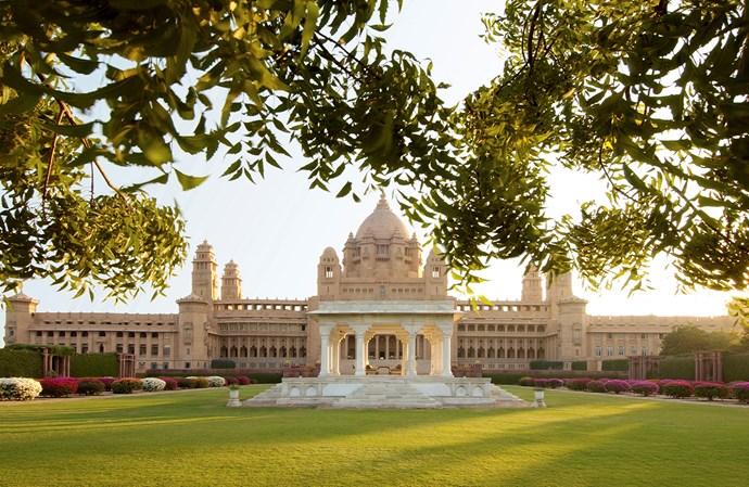 tHE Taj Umaid Bhawan Palace in Jodhpur, India.