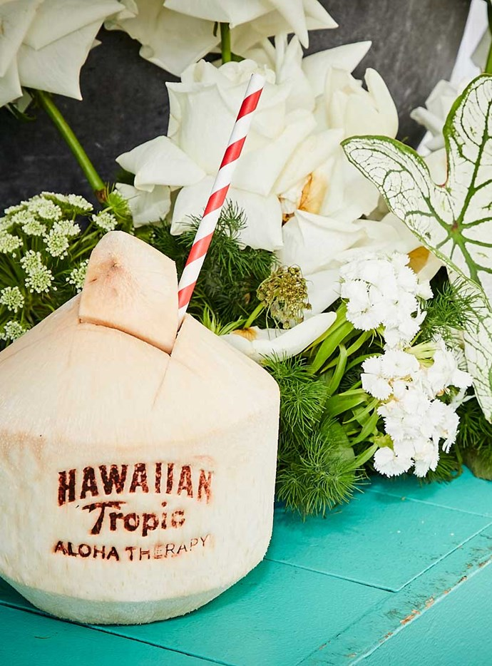 Guests rehydrated with Hawaiian Tropic coconuts.