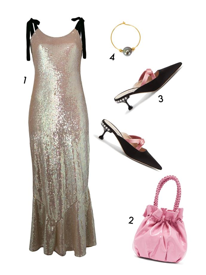 "*For a fancy hotel party*<br><br> ""Something sexy with a fashion edge is perfect for a bougie hotel party. Think like the Italians do and focus on colour, embellishment, sequins and feathers with a high sandal or pointed pump.<br><br> Add a mini bag to finish the look.""<br><br> 1, Dress by Attico, $3,871 at [Farfetch](https://www.farfetch.com/au/shopping/women/attico-tie-shoulder-sequin-maxi-dress-item-13151897.aspx?storeid=9796
