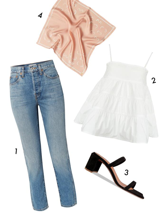 "*For a friend's house party*<br><br> ""For a more relaxed house party, separates are key. Wear a crop top and jeans, or a matching crop and skirt combo. A comfortable shoe so you can party late into the night. Think: a block heel or a cute sneakers.""<br><br> 1, Jeans by Re/Done, $349 at [NET-A-PORTER](https://www.net-a-porter.com/au/en/product/1059077