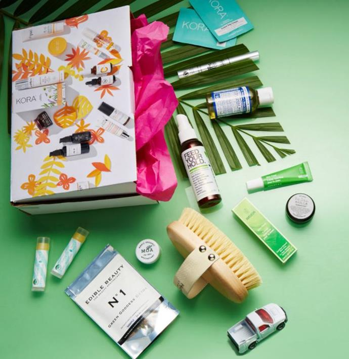 "***Nourished Life*** <br> Australian company Nourished Life includes a plethora of noteworthy beauty products in its signature Beauty Box, featuring brands like KORA Organics and Amazonia Raw. <br><br> *Shop at: [Nourished Life](https://www.nourishedlife.com.au/beauty-box.html?trafficsource=commissionfactory|target=""_blank""
