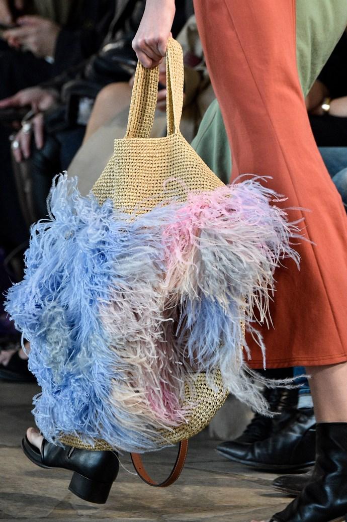 The Loewe Slit Feathered Large Raffia Bag.