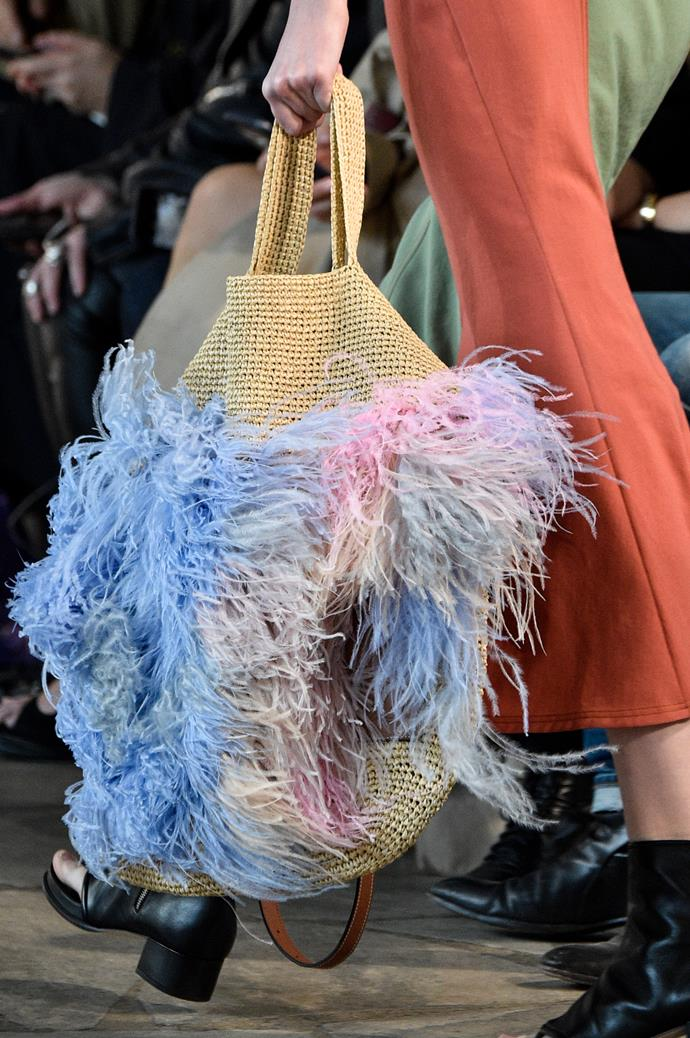 The Loewe Slit Feathered Large Raffia Bag.