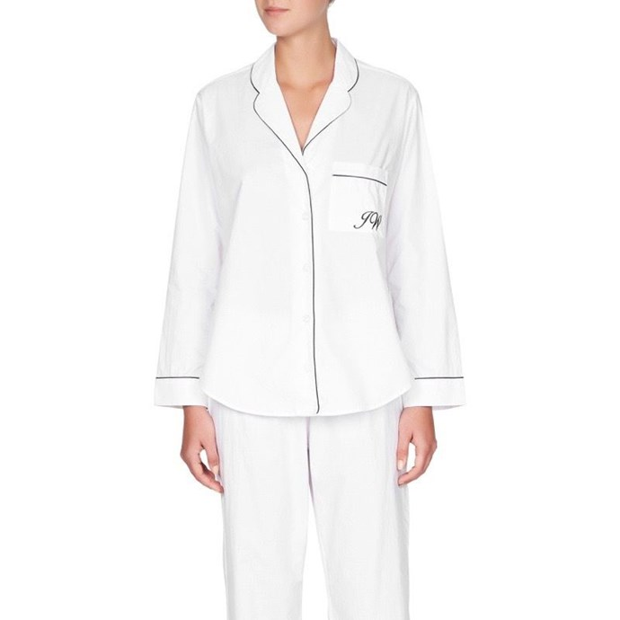 """***A monogrammed pyjama set***<br><br> Give her a set of beautifully-made pyjamas with 'bridesmaid' embroidered onto the pocket. She'll be able to wear them on the eve of the wedding and it makes for a great Instagram.<br><br> Pyjamas, $149 by [Jasmine and Will](https://www.jasmineandwill.com/monogrammed-pyjama-set-white-with-navy-trim.html