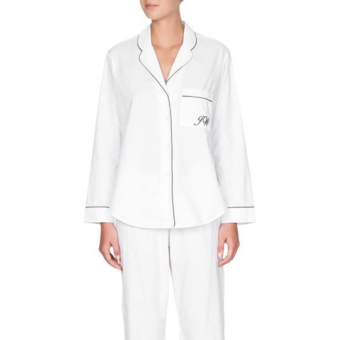 "***A monogrammed pyjama set***<br><br> Give her a set of beautifully-made pyjamas with 'bridesmaid' embroidered onto the pocket. She'll be able to wear them on the eve of the wedding and it makes for a great Instagram.<br><br> Pyjamas, $149 by [Jasmine and Will](https://www.jasmineandwill.com/monogrammed-pyjama-set-white-with-navy-trim.html|target=""_blank""
