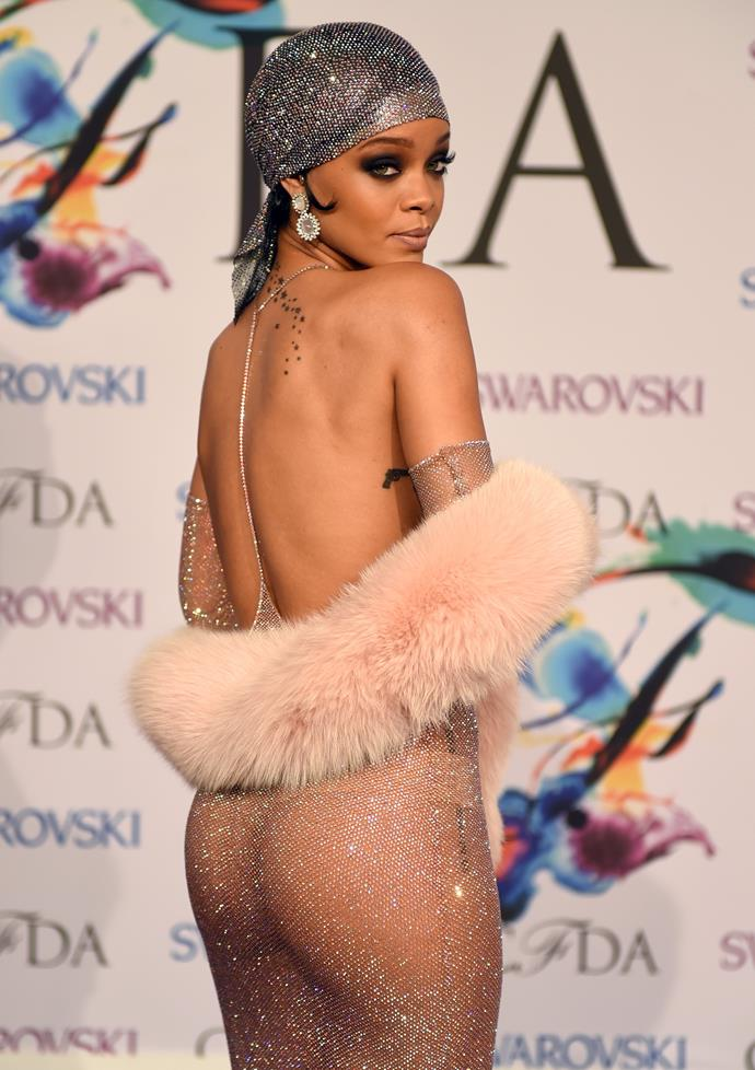 **2014:** Who could forget this incredible, entirely sheer dress at the CFDA Awards?
