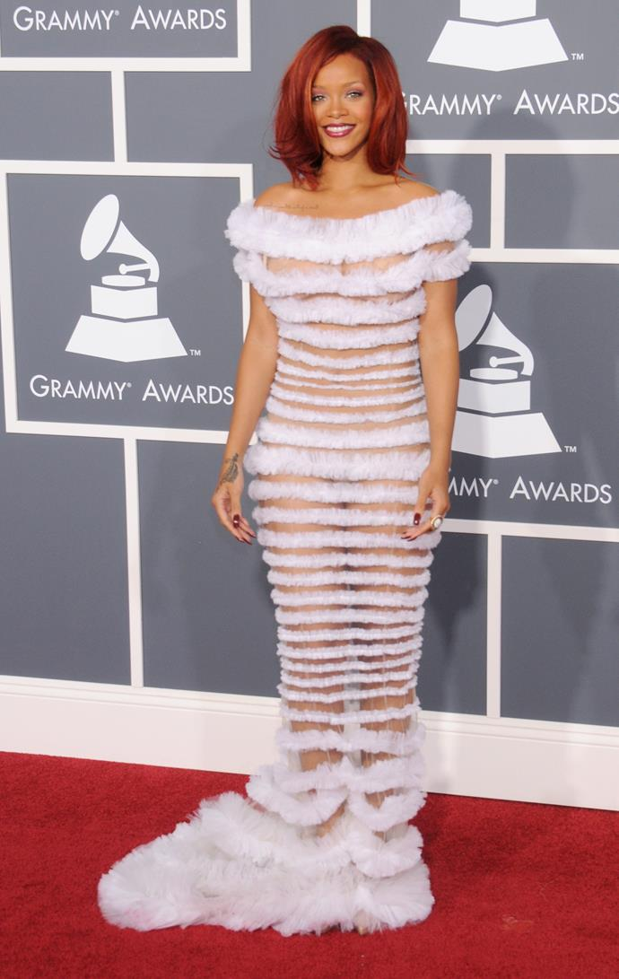 **2011:** In a ruffled, nearly-nude number at the Grammys.