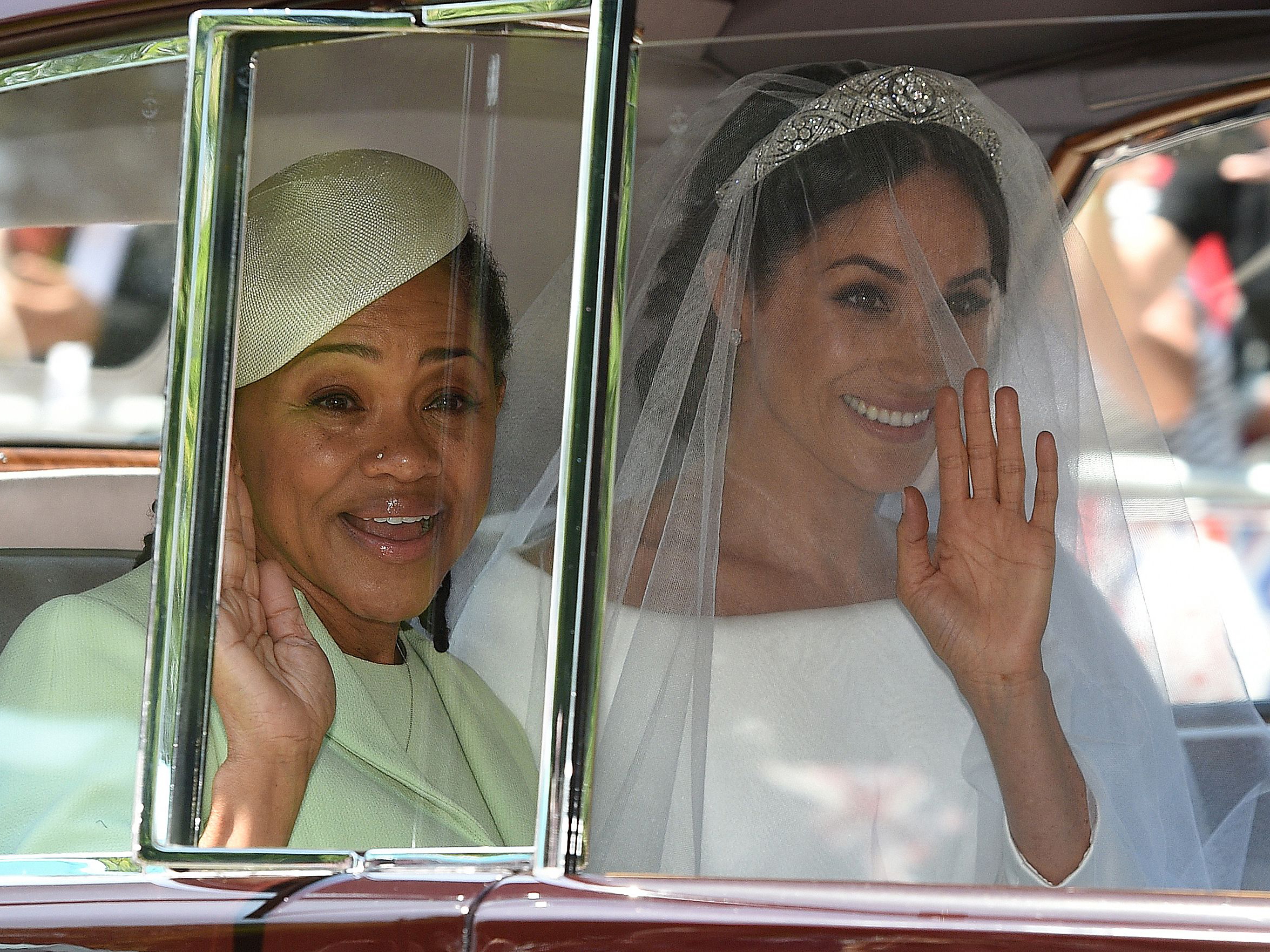 Meghan Duchess of Sussex and her mother Doria Ragland en route to the royal wedding on 19 May 2018