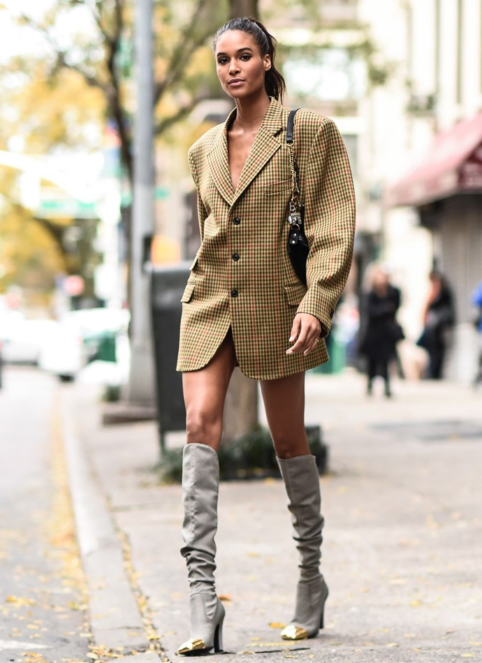 Cindy Bruna's' oversize blazer (worn as a dress) was Angel street-style chic personified.
