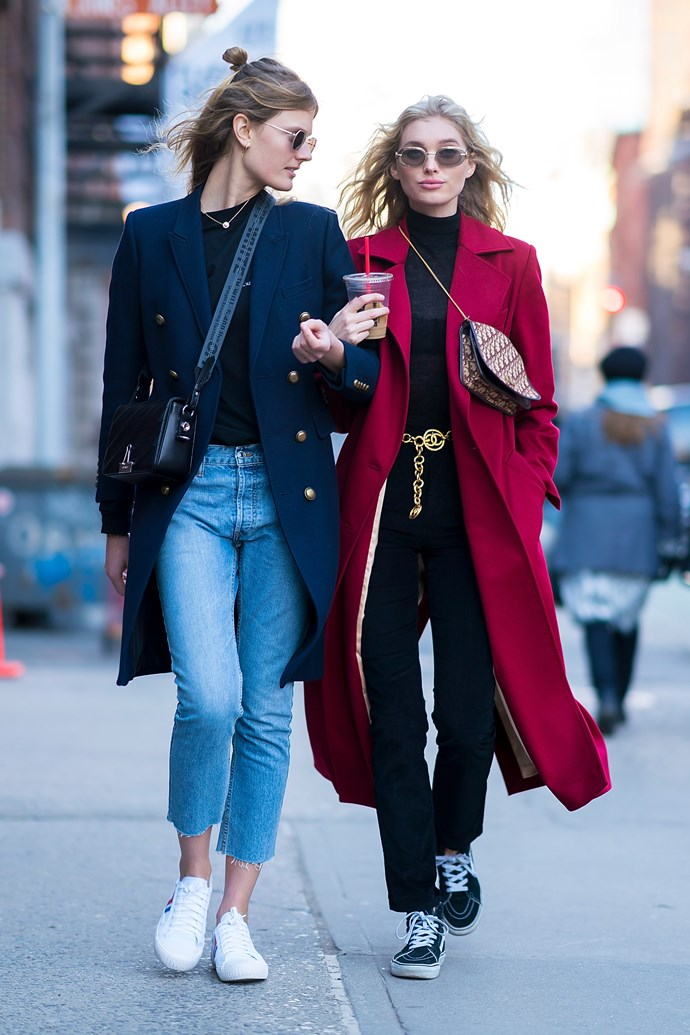 Constance Jablonski and Elsa Hosk? A street-style match made in heaven.